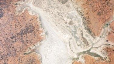 A salt lake near Queensland's Culgoa Floodplain National Park as seen by a Planet Labs satellite.