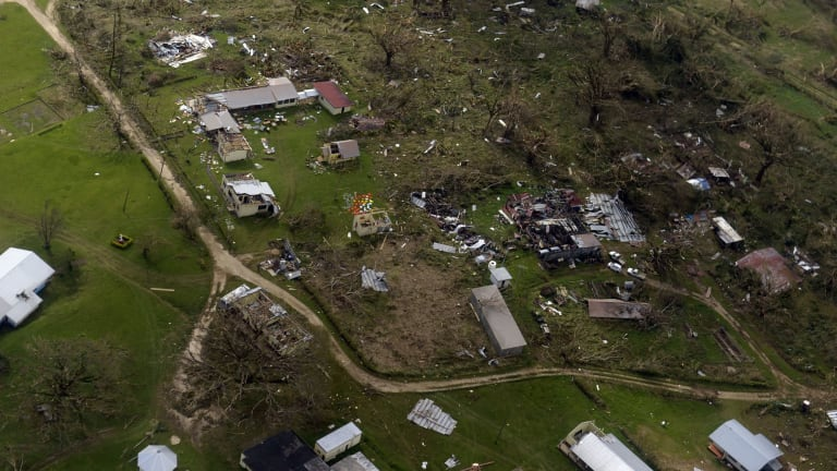 An aerial view of the damage done to a Port Vila suburb.