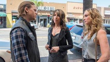 Hunnam, as Jax Teller, wth Katey Sagal and Drea de Matteo in <i>Sons of Anarchy</i>.
