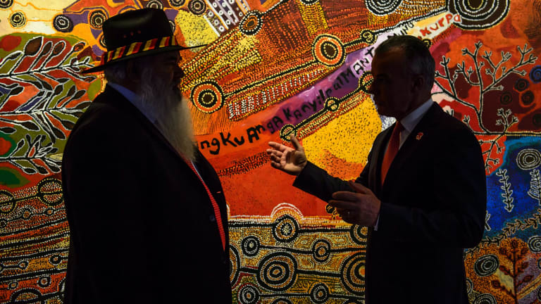 Senator Pat Dodson and Australian War Memorial director Dr Brendan Nelson.