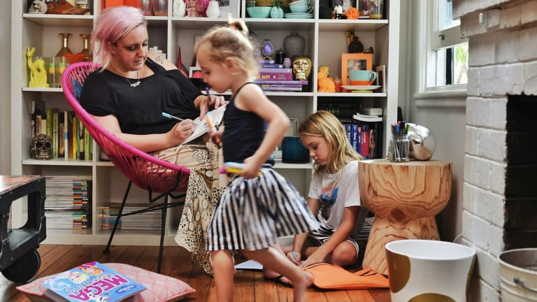 Colour me happy: Jayde Leeder with children Minty and Iggy.