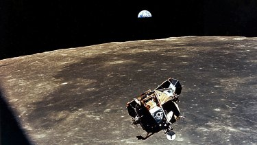 The Lunar Module over the Moon, as seen from Command Module.
