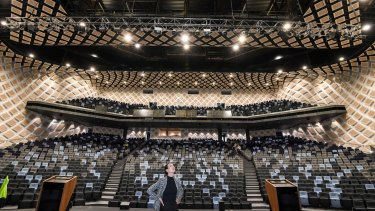 The Darling Habour theatre, seating 2500 people, is one of three tiered theatres.