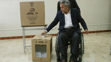 Lenin Moreno votes during a presidential run-off election in Quito, Ecuador, on Sunday.
