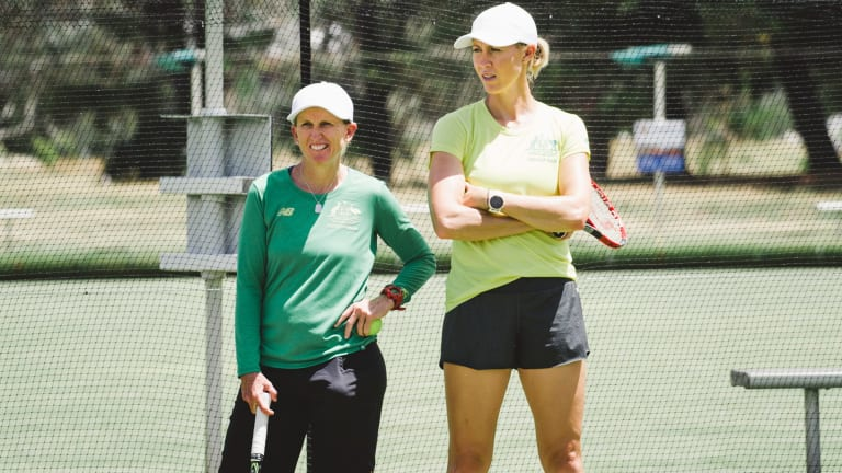 Australian Fed Cup coach Nicole Pratt and captain Alicia Molik at training in Canberra.