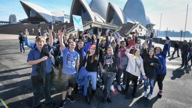 Pokemon Go fans meet at the Opera House on Sunday.