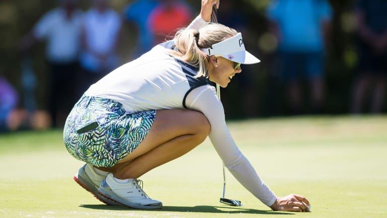 Sweden's Pernilla Lindberg lines up a putt on Sunday.