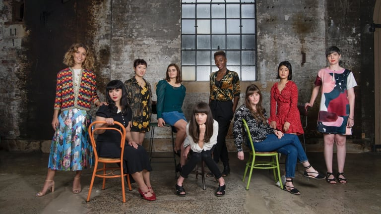 From left, writers Cleo Wade, Intan Paramaditha, Sharlene Teo, Ashleigh Young, Eliza Robertson, Yrsa Daley-Ward, Emma Glass, Jenny Zhang and Sydney Writers' Festival director Michaela McGuire.