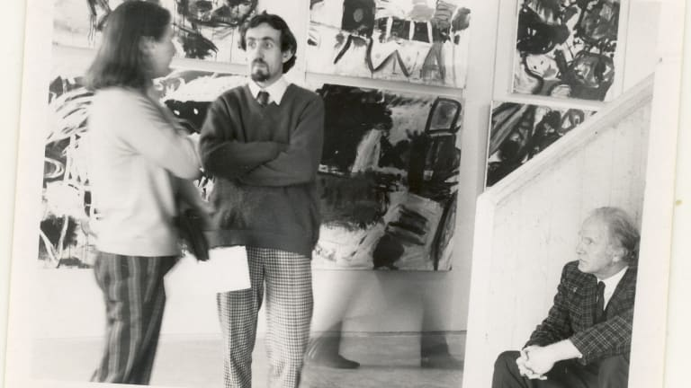 Frank Watters (centre) and Tony Tuckson (right), who was a champion of the Watters Gallery.