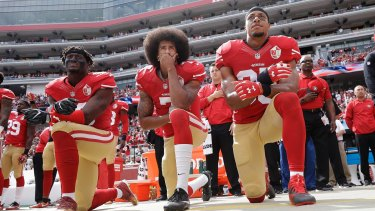 Start of something big: Colin Kaepernick took to one knee during the American national anthem last season to show solidarity with the Black Lives Matter campaign.