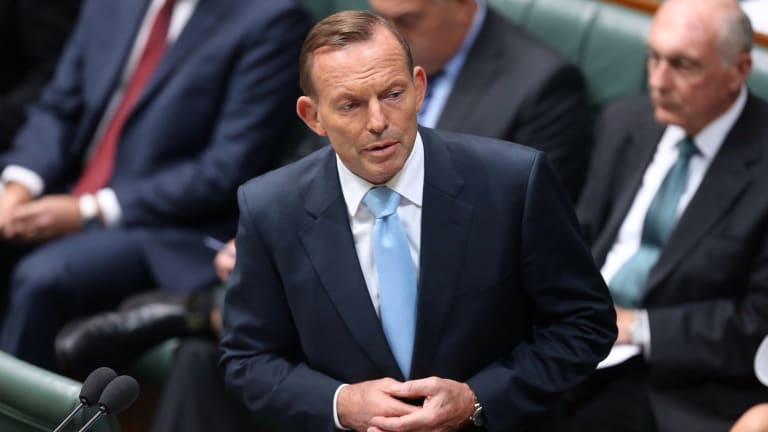 Tony Abbott delivers a condolence motion for former prime minister Malcolm Fraser on Monday.