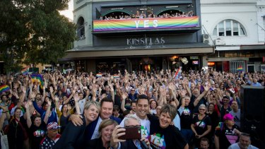 Same-sex marriage supporters celebrate the Yes vote at Taylor Square on November 15. It was a victory for all Australians, including those who have suffered homophobic abuse.