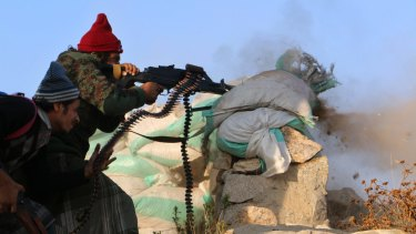 Saudi-backed tribal fighters on the outskirts of Taiz, Yemen, in December.