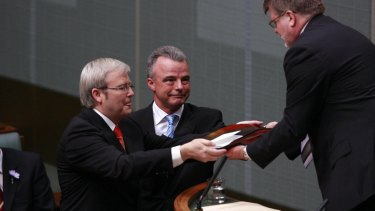 Prime minister Kevin Rudd and opposition leader Brendan Nelson deliver the official apology to the stolen generations to the House of Representatives speaker in 2008.