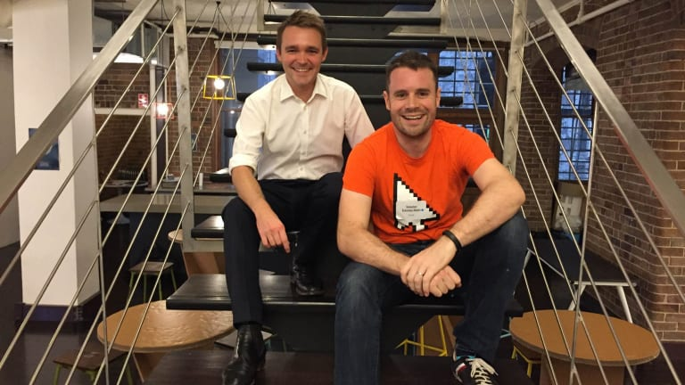 Federal Assistant Minister for Innovation Wyatt Roy with BlueChilli founder and policy hackathon host Sebastien Eckersley-Maslin.