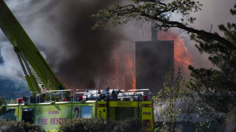 Emergency services are battling the flames, which have completely destroyed the Farmhouse Restaurant.