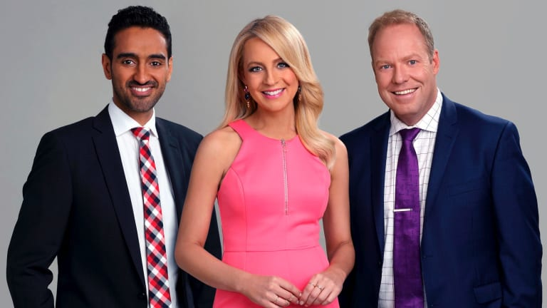 <i>The Project's</i> current co-hosts Waleed Aly, Carrie Bickmore and Peter Helliar.