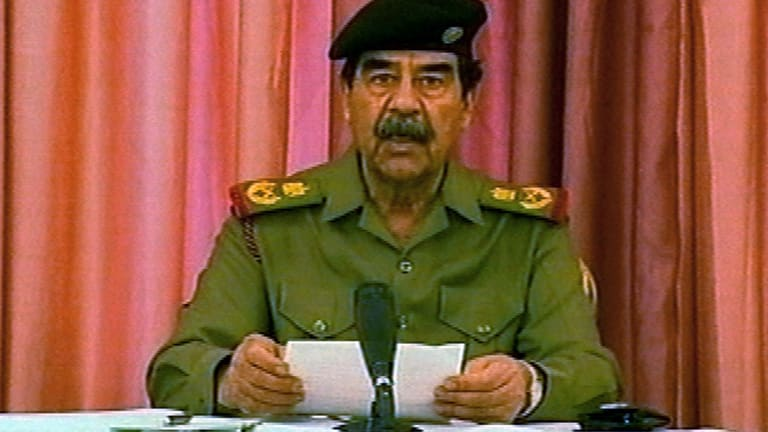 Saddam Hussein in a video taken on the day American troops streamed into central Baghdad and pulled down his statue.
