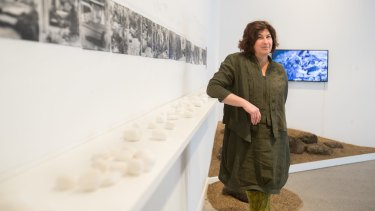 Annette Warner earlier this year with her exhibition on landscape designer Gordon Ford.