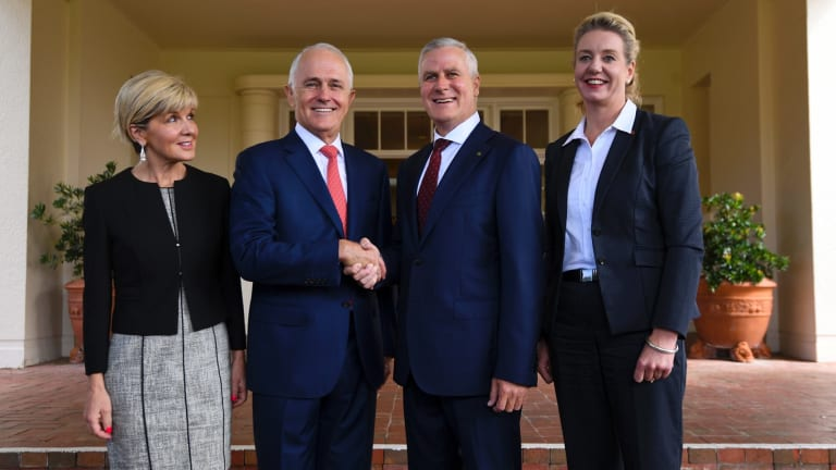 Foreign Minister Julie Bishop, Prime Minister Malcolm Turnbull, Deputy Prime Minister Michael McCormack and deputy leader of the Nationals Bridget McKenzie.