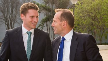 Tony Abbott with Liberal MP Andrew Hastie in 2015.