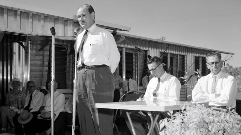 The then minister for territories Paul Hasluck opens new buildings at Retta Dixon Homes, Darwin, in 1961 to move its wards away from Bagot reserve.