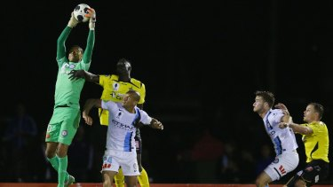 Melbourne City goalkeeper Tando Velaphi leaps high to effect a save.