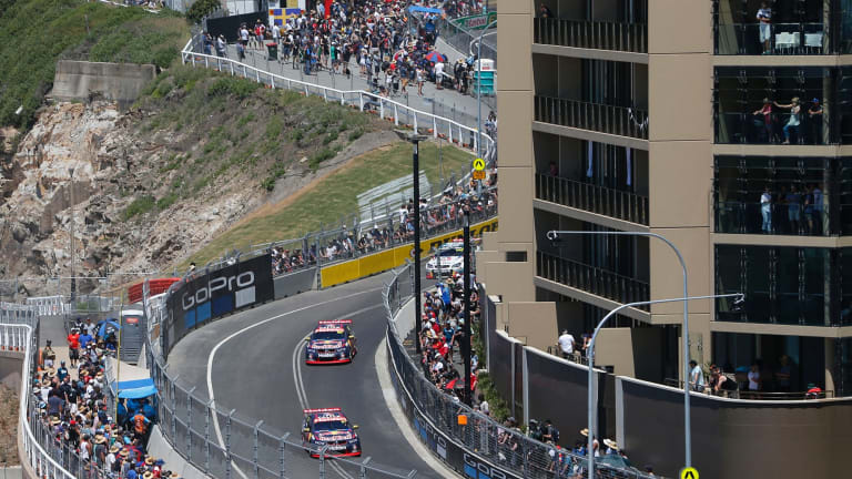 Street racers: Red Bull Holden Racing Team drivers Shane van Gisbergen and Jamie Whincup on the Newcastle circuit for race 26 of the Supercars Championship.