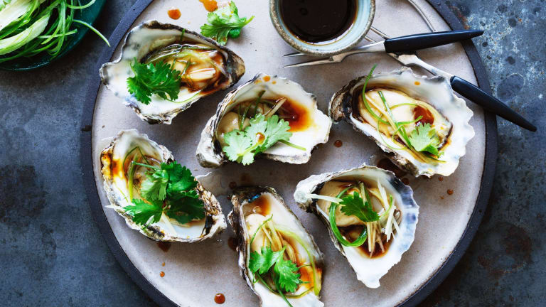 Kylie Kwong's steamed oysters.