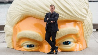 Here's Donny! Artist Callum Morton with his monumental Trump head.