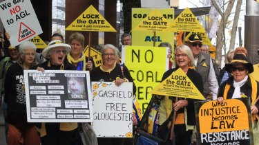 Coal seam gas protestors voice their opposition to exploration in NSW.