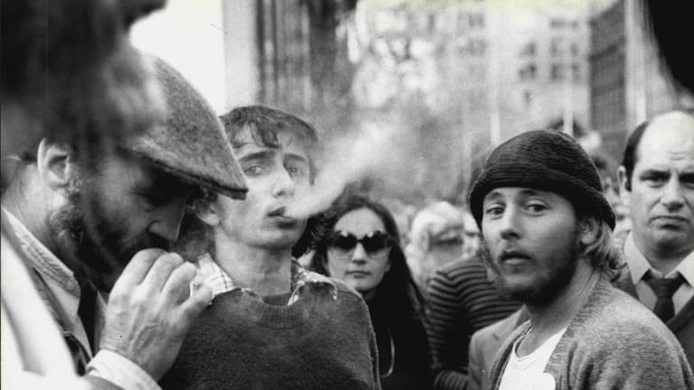 Marijuana legalisation rally in Martin Place, Sydney on July 04, 1978.