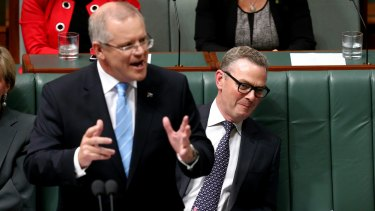 Treasurer Scott Morrison and Minister for Industry, Innovation and Science Christopher Pyne during question time on Wednesday.