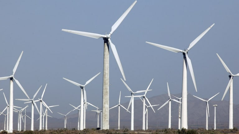 Wind farms offer one source of renewable energy to replace fossil fuels.