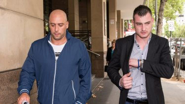 Branimir Lakic (right), is charged with the assault of Michael Harris. His friend is Milan Jovic (left) gave evidence in Melbourne Magistrates Court on Wednesday.