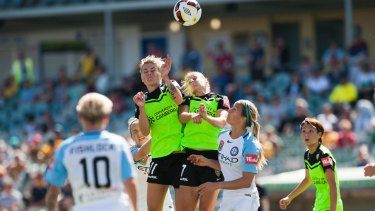 Canberra United co-captains Michelle Heyman and Ellie Brush.