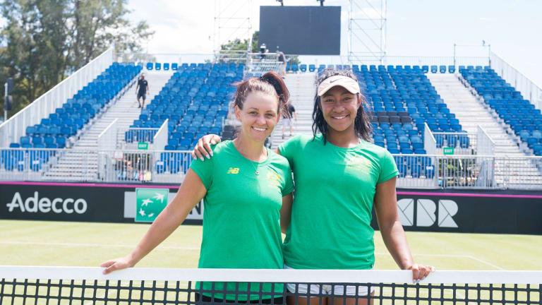 Casey Dellacqua and Destanee Aiava at the Canberra Tennis Centre.
