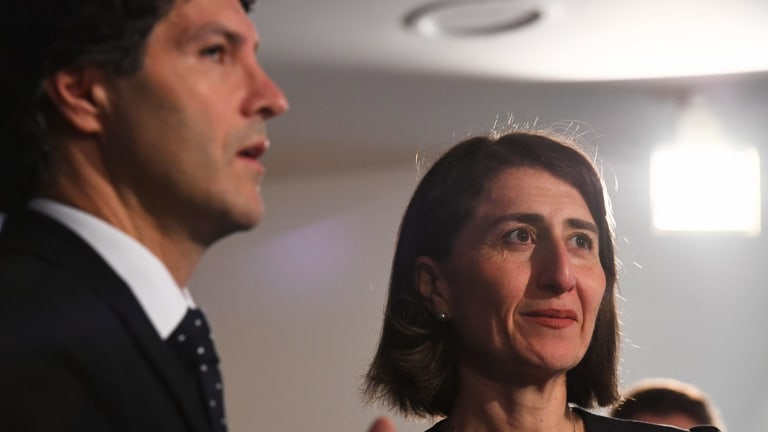 Finance Minister Victor Dominello and Premier Gladys Berejiklian.