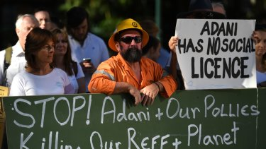Adani protesters campaign against the possible billion-dollar federal loan to Adani.