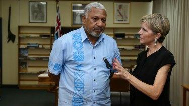 Ms Bishop meets with Fiji Prime Minister Frank Bainimarama on Monday.