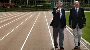 Ron Clarke and John Landy at Olympic Park at the location where Ron fell and John picked him up during a mile race, the rest is history.