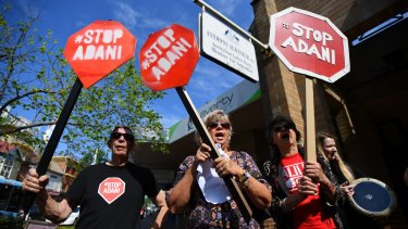 Anti-Adani coal mine protesters in Sydney's Marrickville earlier this month.