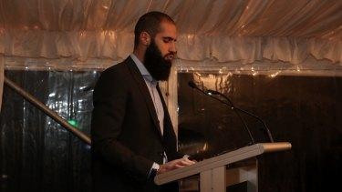 Footballer Bachar Houli sung a prayer at the event.