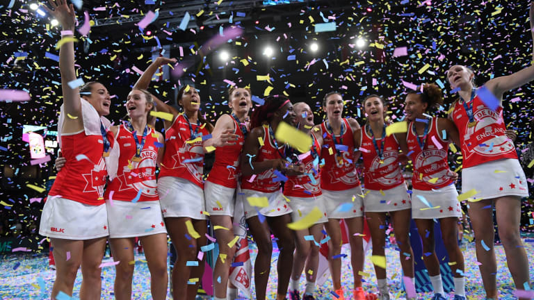 England players after winning the Fast5 Netball World Series final against Jamaica at Hisense Arena in Melbourne.