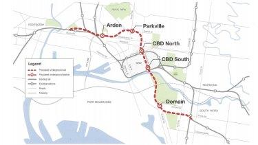 The proposed Melbourne Metro rail tunnel.