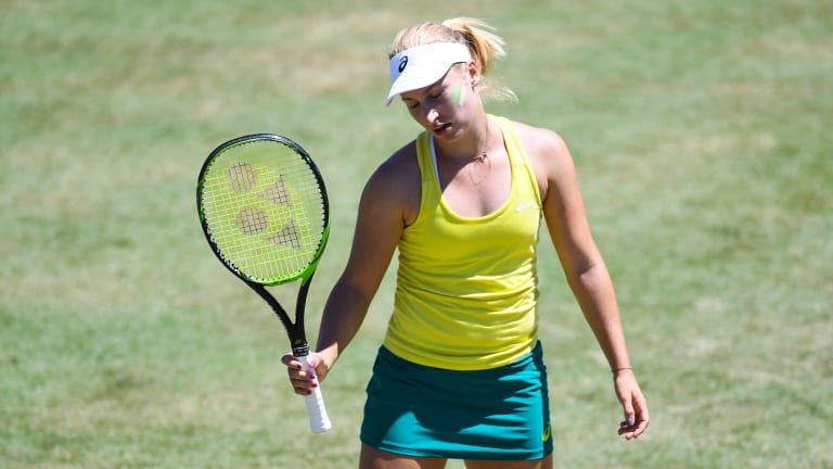 Daria Gavrilova shows her disappointment during Sunday's loss.