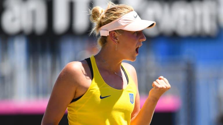 Ukraine 15-year-old Marta Kostyuk upset Daria Gavrilova to square the Fed Cup tie on Saturday.