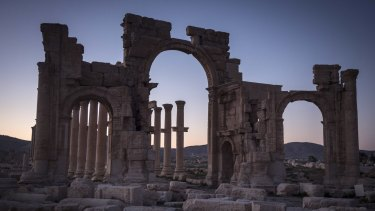 The ancient arch in Palmyra, Syria, in 2014, where Hassan Aboud was seen in June this year.