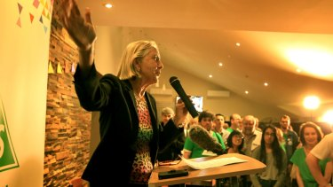 Greens senator Lee Rhiannon addresses the crowd at a Sydney University event.