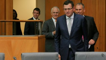 Premier of Victoria Daniel Andrews, walks out ahead of NT Chief Minister Adam Giles, Prime Minister Malcolm Turnbull, NSW Premier Mike Baird and Queensland Premier Annastacia Palaszczuk on Friday.